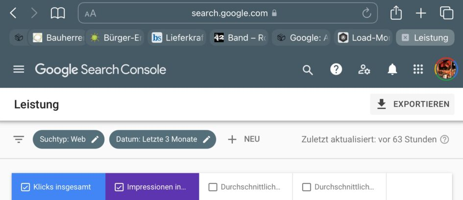 Screenshot Google Search Console Leistungsbericht nicht aktuell