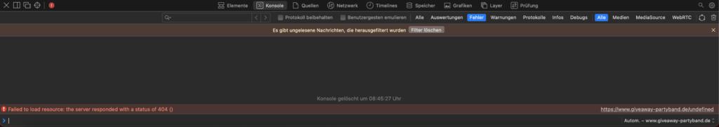 Screenshot aus Safari Konsole 404 undefined error