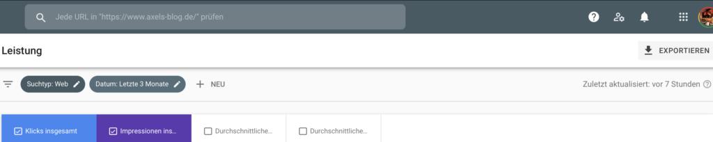 Screenshot Google Search Console 7 Stunden