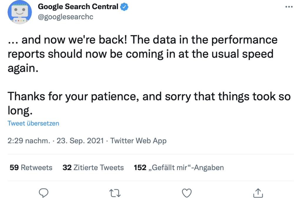 Screenshot Twitter Google Search Console Leistungsbericht Daten wieder aktuell