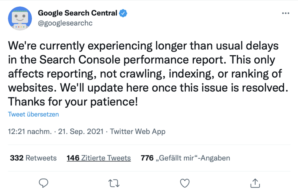 Screenshot Twitter Google Search Console Leistungsbericht Daten nicht aktuelle